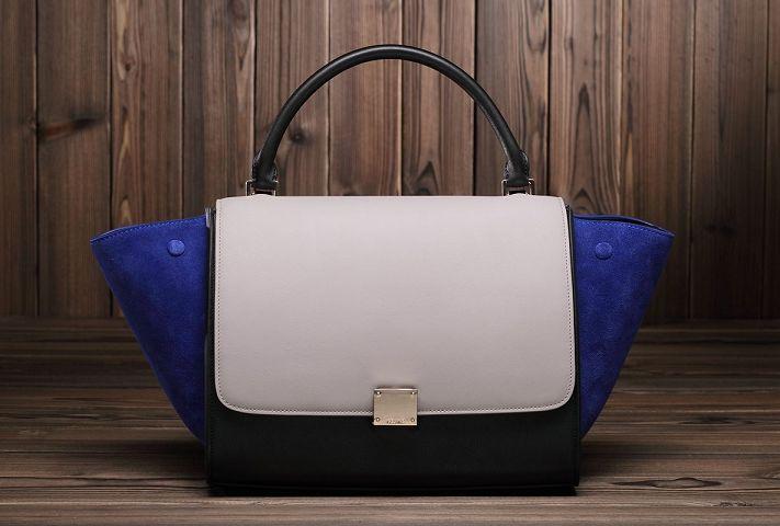 Celine winter best-selling model nubuck leather with original buckskin 3342 gray&black&brilliant blu