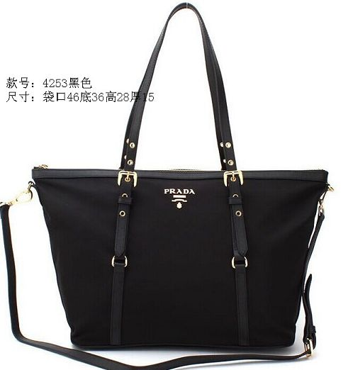 2015 Prada new model fashion shopping bag 4253 black