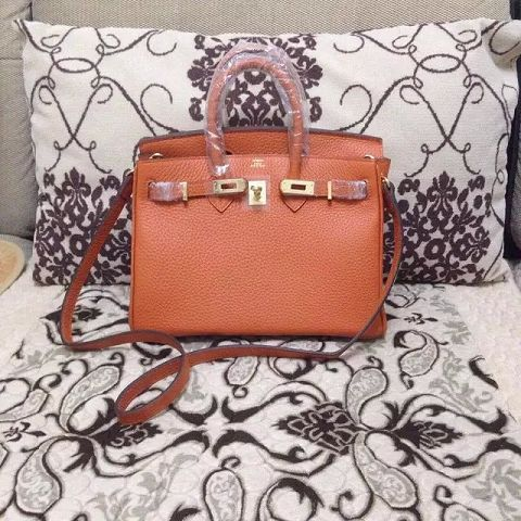 Hermes Birkin H25 litchi grain orange