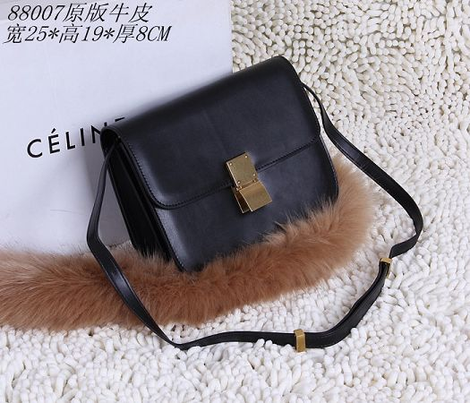 Celine Classic Box Small Flap Bag Calfskin 88007 Black