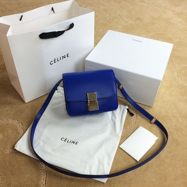 Celine Classic Box mini Flap Bag Smooth Leather 11041 Brilliant blue