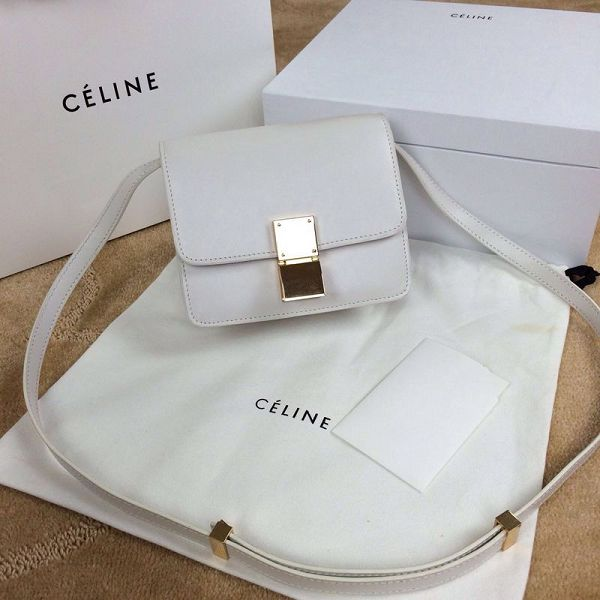 Celine Classic Box mini Flap Bag Smooth Leather 11041 white