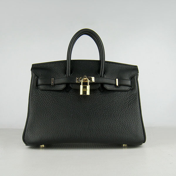 Hermes birkin 25cm calfskin leather H25 black in gold