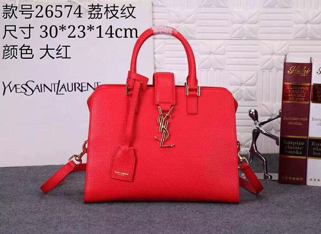 Yves Saint Laurent Litchi Leather Tote Bag 26574 Red