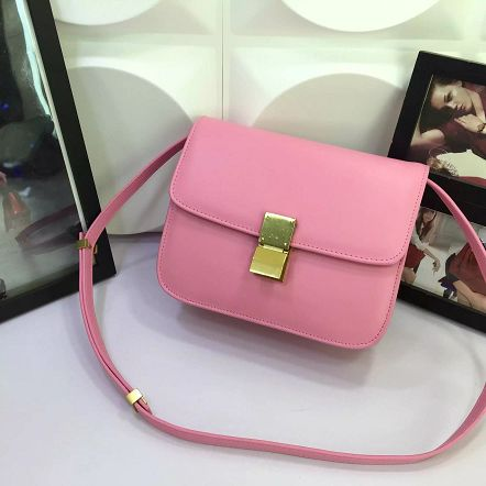 Celine Classic Box Flap Bag Calfskin Leather 88008 Pink