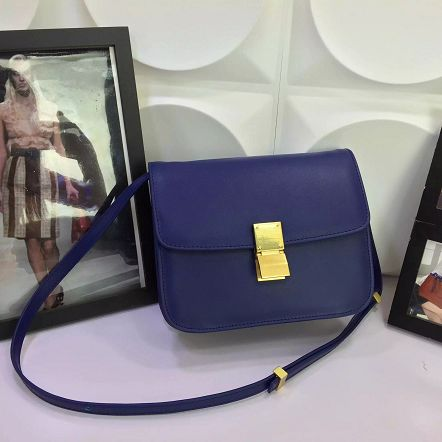 Celine Classic Box Flap Bag Calfskin Leather 88008 Royal Blue