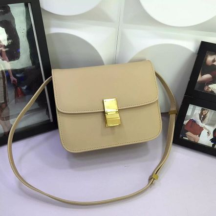 Celine Classic Box Flap Bag Calfskin Leather 88008 Apricot