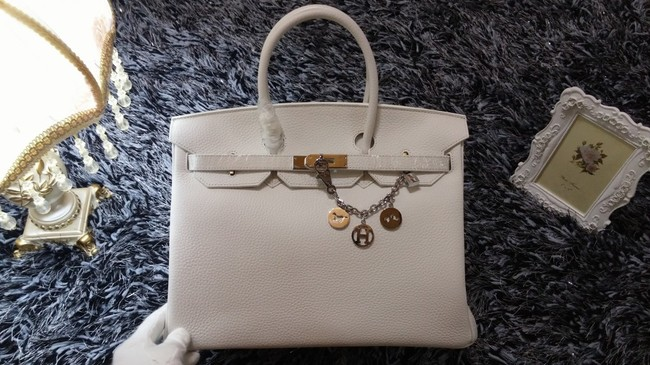 Hermes Birkin 35cm tote bag litchi leather H35 white