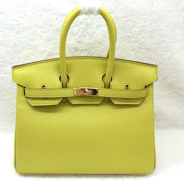 Hermes Birkin 25CM Tote Bag Original Leather H25 Lemon Yellow