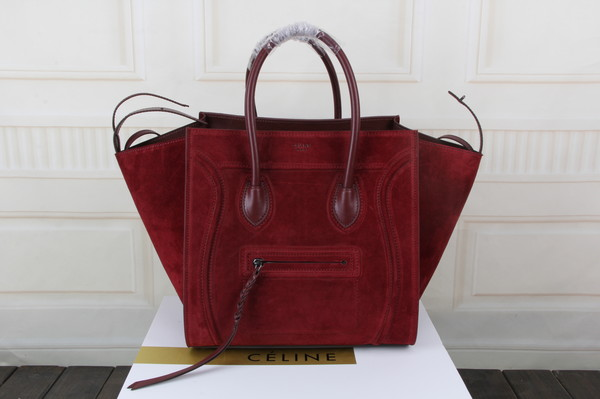 Celine luggage phantom tote bag suede leather 3341 burgundy