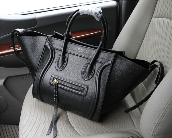 Celine luggage phantom tote bag litchi leather 103 black