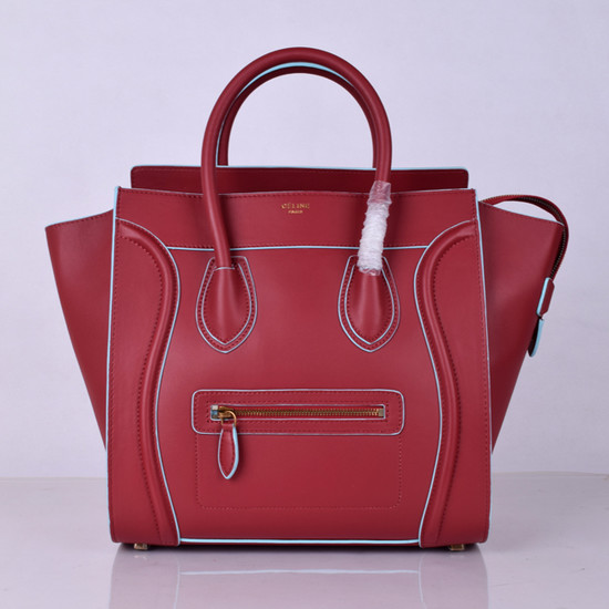 Celine Luggage Tote Bag Original Leather 8802-2 Burgundy