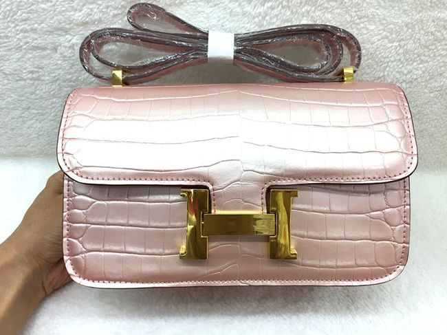 Hermes Constance Bag Croco Leather 3327 Pink