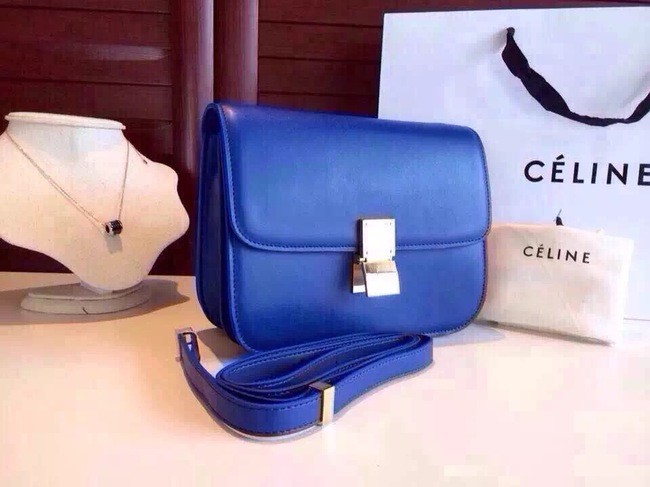 Celine Classic Box Flap Bag Calfskin Leather 2263 Blue