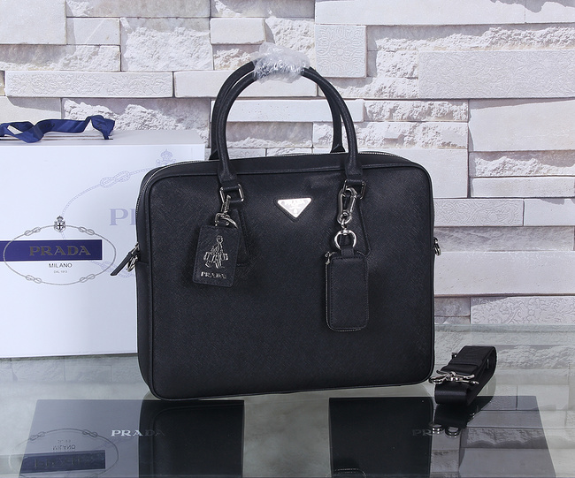 Prada Saffiano Calf Leather Briefcase P003 Black