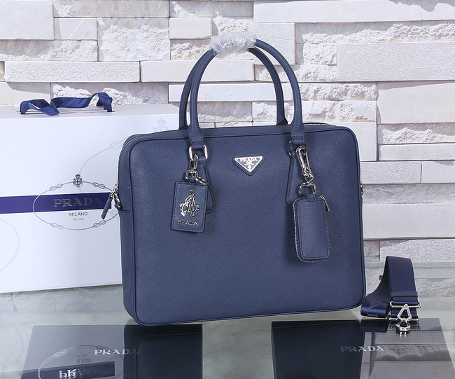 Prada Saffiano Calf Leather Briefcase P003 Royal Blue