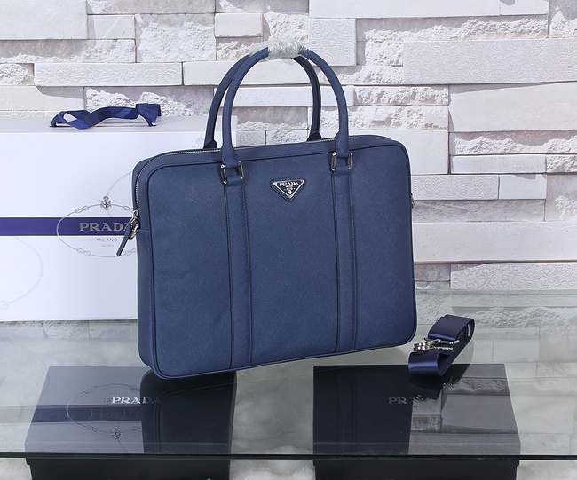 Prada Saffiano Calf Leather Briefcase P8687 Blue