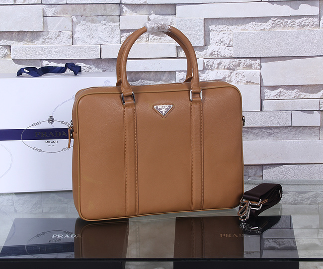 Prada Saffiano Calf Leather Briefcase P8687 Wheat
