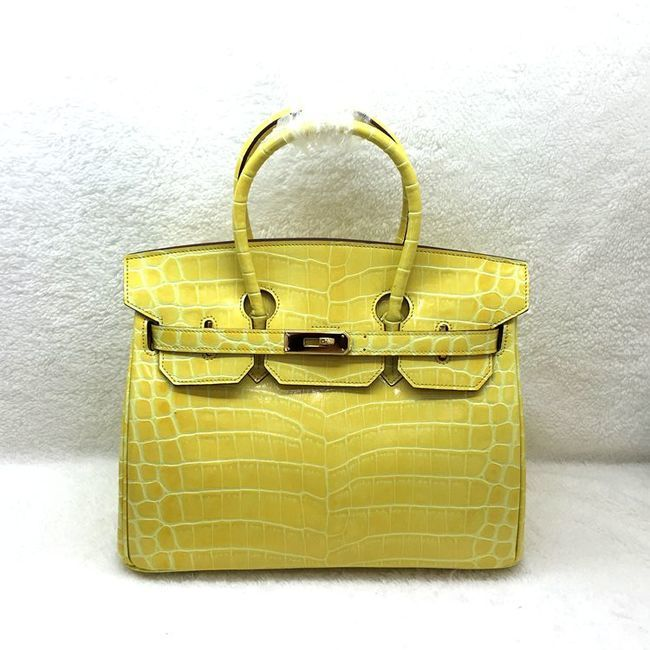 Hermes Birkin 25CM Tote Bag Croco Leather H8096 Yellow