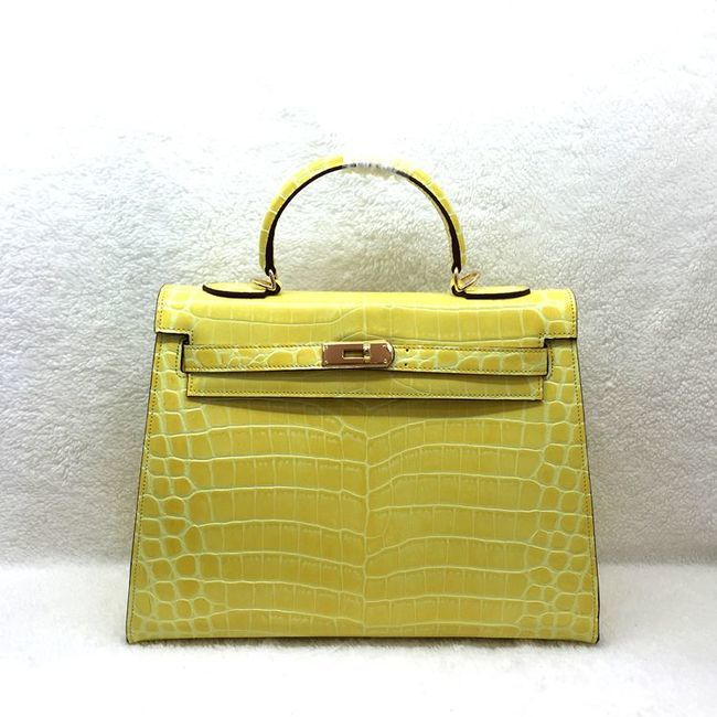 Hermes Kelly 32cm Shoulder Bag Croco Leather K32 Yellow