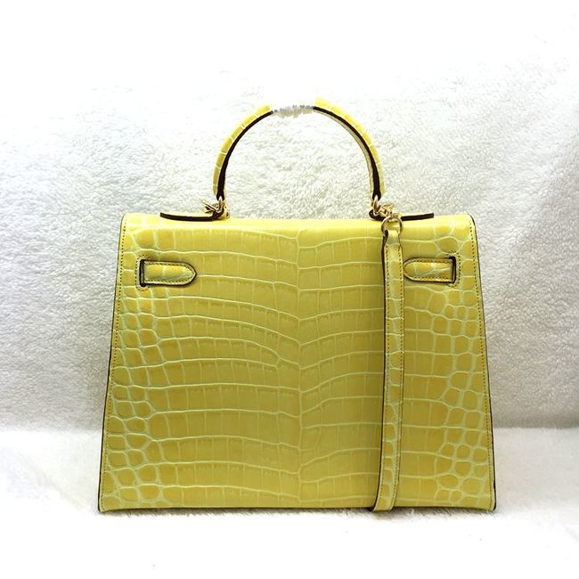 Hermes Kelly 32cm Shoulder Bag Croco Leather K32 Yellow ...