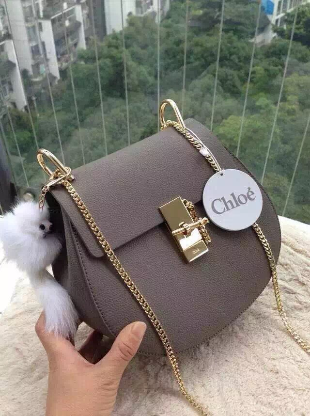 Chloe Drew Shoulder Bags Calfskin Leather 3369 Grey