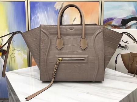 Celine LUGGAGE PHANTOM Tote Bag C3372 Croco Leather Apricot