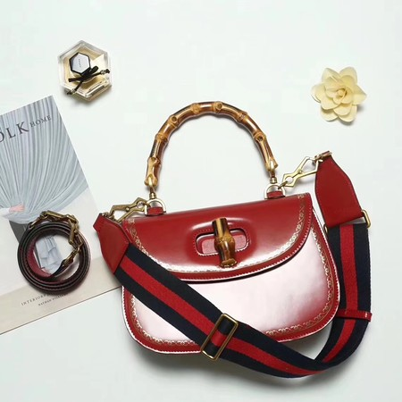 7e0ca754499 Gucci Bamboo Daily Leather Tote Bag 488800 red