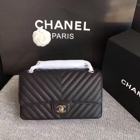 Chanel Flap Shoulder Bags black Leather CF 1112V silver chain