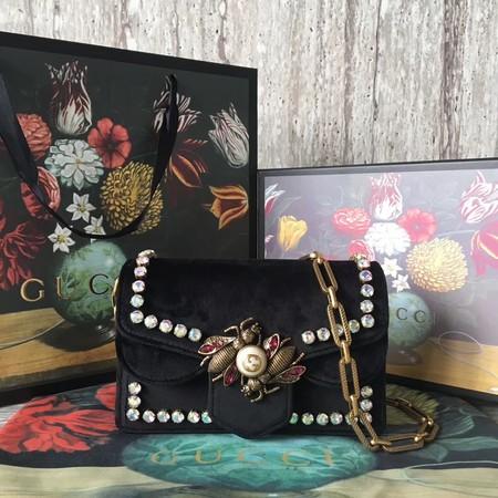 Gucci broadway mini Velvet Shoulder Bag 489218 black