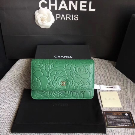 Chanel WOC Mini Shoulder Bag A33814 green silver chain