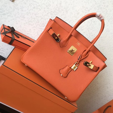 b1a8837e24 ... low cost hermes birkin 35cm tote bag original togo leather bk35 orange  a3a48 5bed7