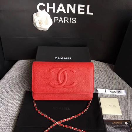 Chanel WOC Mini Shoulder Bag Original Caviar leather B33814 red silver chain