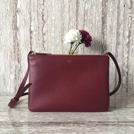 Celine Original Leather Shoulder Bag 55421 Burgundy