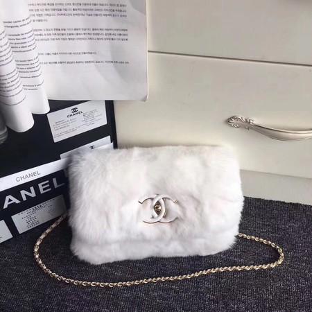 Chanel Rabbit hair Shoulder Bag 3369 white