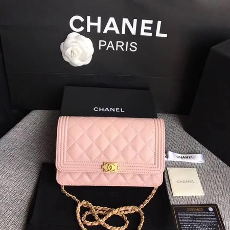 Chanel WOC Mini Shoulder Bag Original Caviar leather LEBOY B33814 pink gold chain