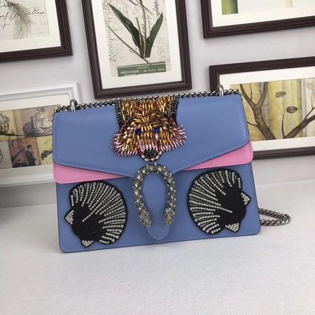 Gucci Dionysus GG Shoulder Bag 403348-4 Blue with rose