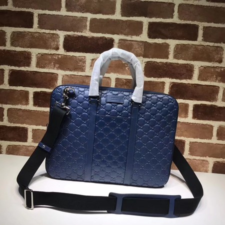 Gucci GG Calfskin Leather briefcase 451169 blue