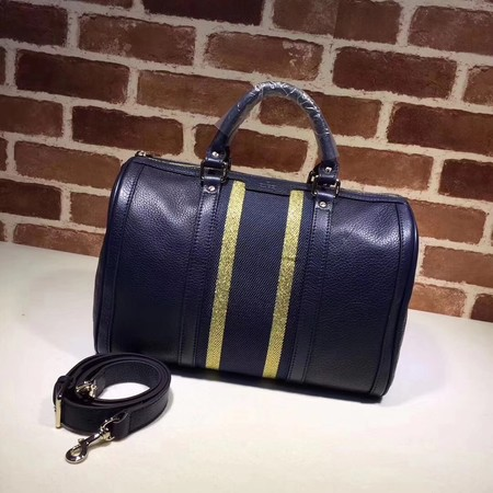 c5004e5fac3 Gucci GG Calfskin Leather Boston Bag 247205 dark blue