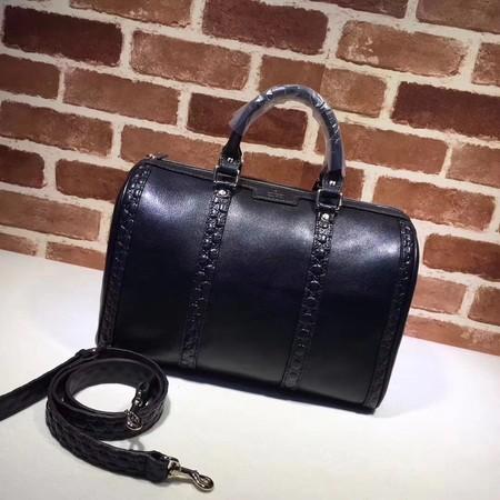 4b25db2418a Gucci GG Calfskin Leather Boston Bag A247205 black