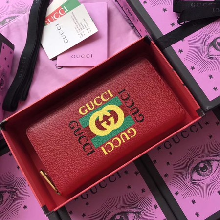 Gucci Print leather zip around wallet 476318 red