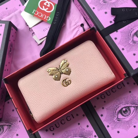 Gucci Leather zip around wallet with butterfly 499363 pink