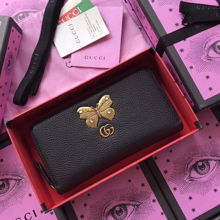 Gucci Leather zip around wallet with butterfly 499363 black
