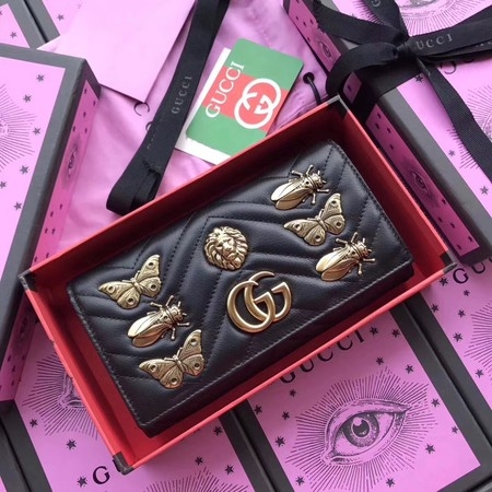 Gucci GG Marmont Wallet 443436 black lion