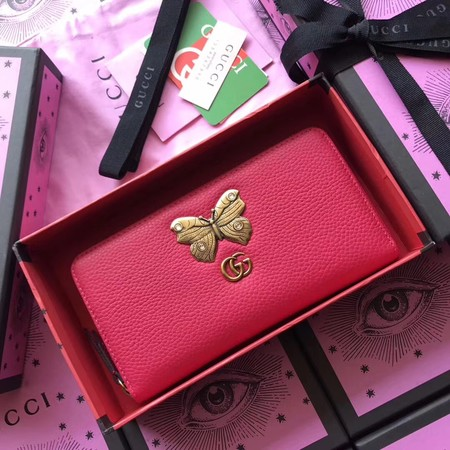 Gucci Leather zip around wallet with 499363 butterfly rose