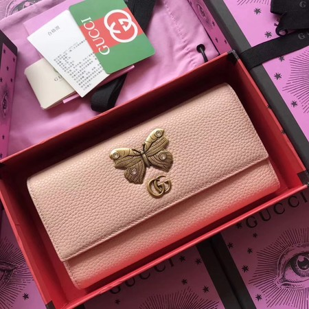 Gucci Leather continental wallet with butterfly 499359 pink