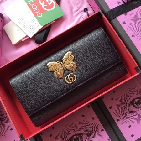 Gucci Leather continental wallet with butterfly 499359 black