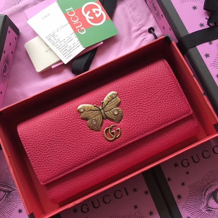 Gucci Leather continental wallet with butterfly 499359 rose