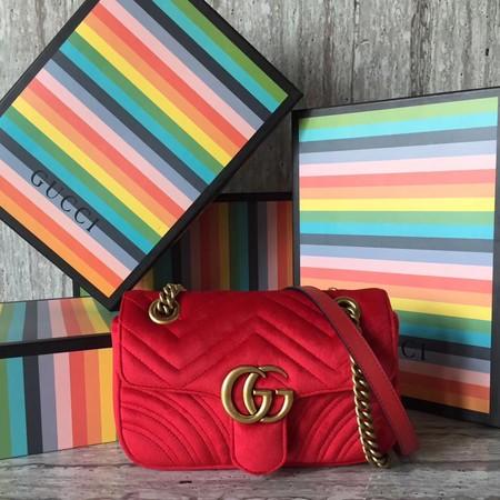 85eda8c9ef Gucci GG marmont Velvet shoulder bag 446744 red
