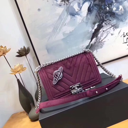 Chanel LE BOY Shoulder Bag velvet 67086B purple